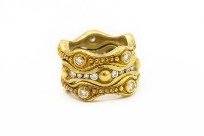 Estate Yellow Gold and Diamond Stackable Rings