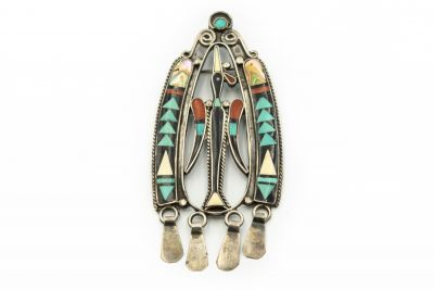 Estate Zuni Native American Sterling Silver and Turquoise Pendant/Brooch
