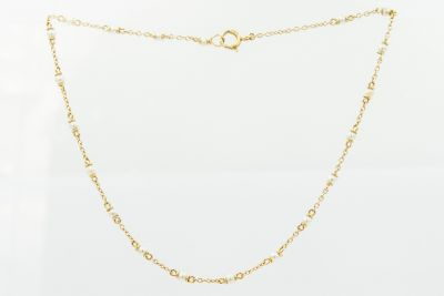 Estate Yellow Gold and Natural Pearl Necklace