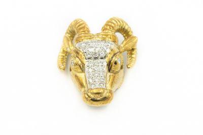 Estate Yellow Gold and Diamond Ram's Head Pendant