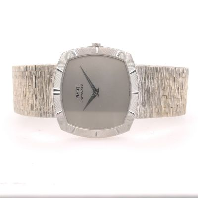 Super Rare Men's Automatic Piaget 18K White Gold Wristwatch with Micro-Rotor