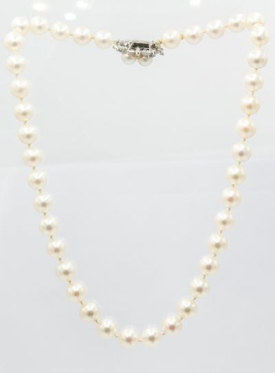 Estate Pearl Necklace with White Gold and Diamond Pearl Clasp