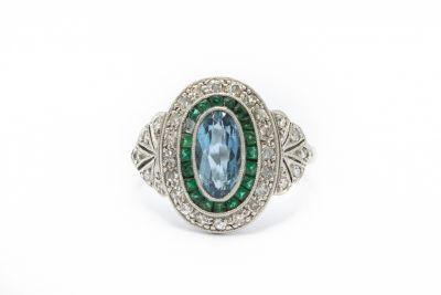 Estate Platinum Diamond Emerald and Aquamarine Ring