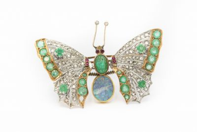 Estate Yellow Gold Diamond Ruby Opal and Emerald Butterfly Brooch Tremble