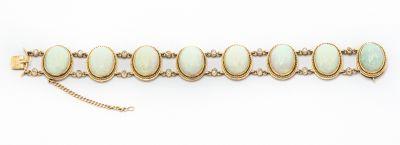 Estate Yellow Gold Diamond and Opal Bracelet