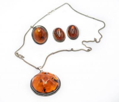 Estate Sterling Silver and Amber Necklace, Earrings and Ring Suite