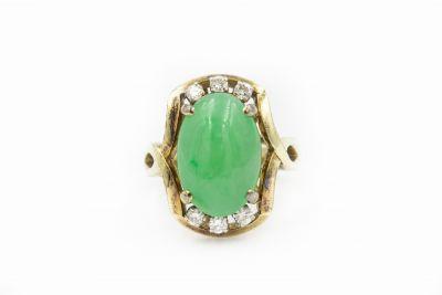 Estate Yellow Gold Diamond and Jade Ring