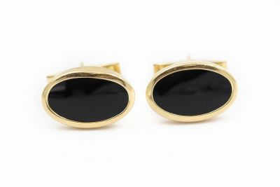 Estate Yellow Gold and Black Onxy Cufflinks