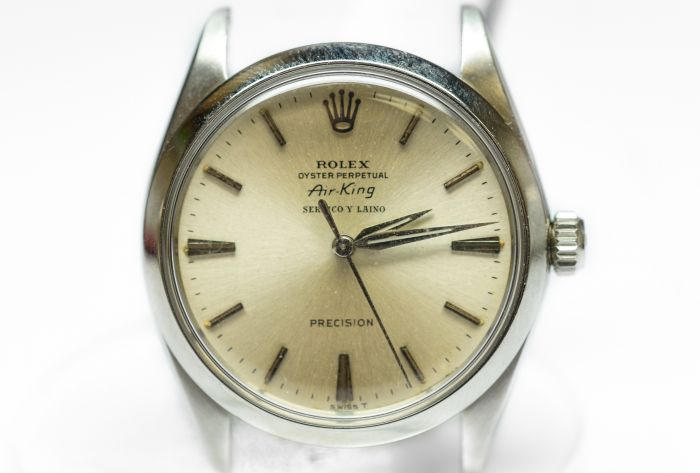 Private Collection Mk Rare Steel Rolex Oyster Perpetual Air King Serpico Y Laino Ref 5500 Wristwatch Circa 1964