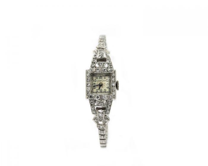 1950's Ladies Platinum and Diamond Hamilton Wristwatch Circa 1950's