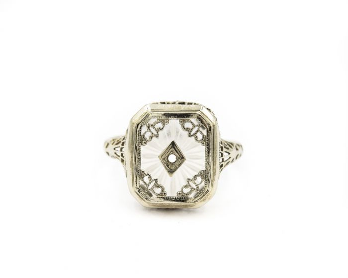 014318f5a339 Add to Cart. Details. Art Deco 14k White Gold and Camphor Glass Filigree  Ring.