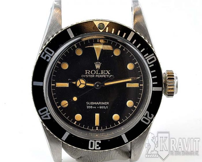 Private Collection Mk Rare Big Crown Rolex Submariner Ref 6538 Wristwatch Circa 1958
