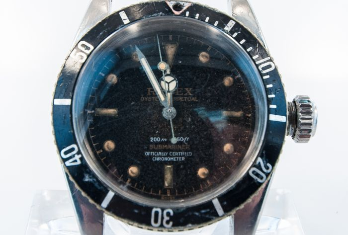 Private Collection Mk Rare Tropical Rolex James Bond Four Line Submariner Ref 6538 Wristwatch Circa 1958