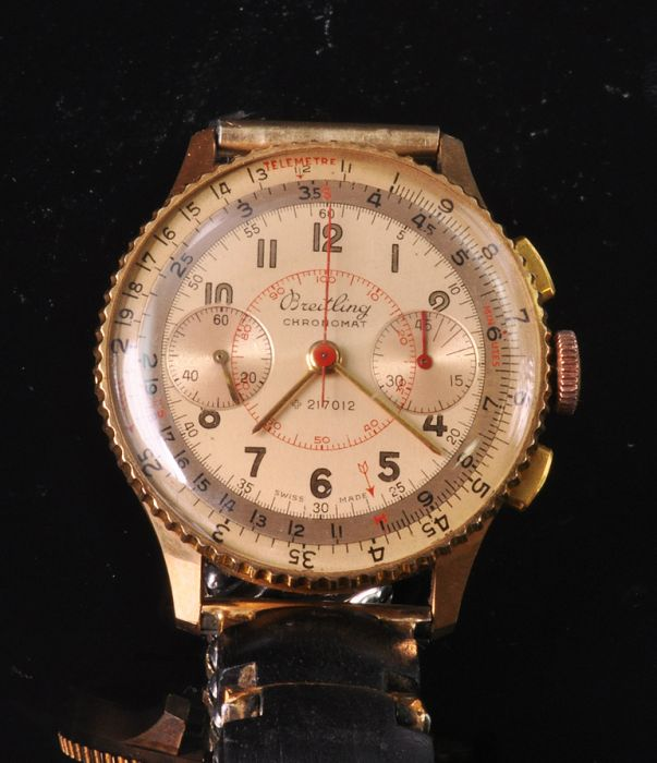 Private Collection Mk Exquisite Nos 18k Rose Gold Breitling Chronomat Ref 769 Wristwatch Circa 1950 S