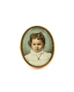 Victorian Yellow Gold Hand Painted Portrait Young Girl Pin