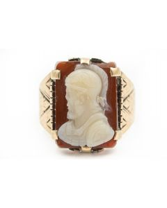 Victorian Rose Gold and Hard Stone Cameo Ring