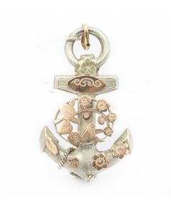 Victorian Yellow Gold and Silver Lavalier Anchor Pendant