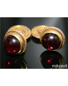 Victorian Gold Filled and Cabochon Bohemian Garnet Cufflinks