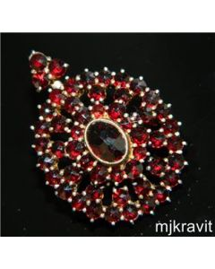 Vermeil 900 Silver Snowflake Rose Cut Bohemian Garnet Hinge Victorian Brooch/Pendant