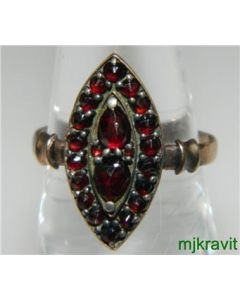 Victorian Gold Filled and Rose Cut Garnet Cluster Ring