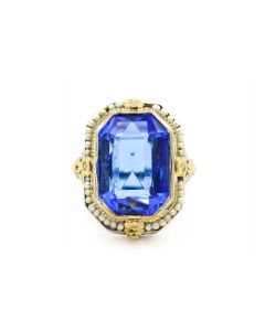 """Art Deco White Gold """"Sapphire"""" Blue Gemstone and Natural Pearl Filigree Ring"""