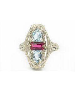 Art Deco White Gold Aquamarine and Pink Gemstone Pierced Filigree Ring