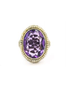 Art Deco White Gold Amethyst and Natural Pearl Ring Filigree Ring