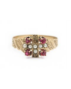 Victorian Yellow Gold Pearl and Gemstone Ring