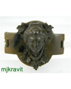 Gutta Percha High Relief Carved Female Bust Victorian Antique Pin Brooch