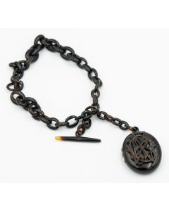 Victorian Watch Chain Tortoise Shell with Matching Pendant/Locket
