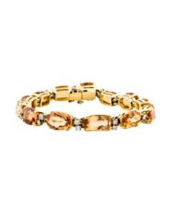 Contemporary Gold, Imperial Topaz and Diamond Bracelet