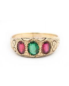 Georgian Yellow Gold and Three Gemstone Ring