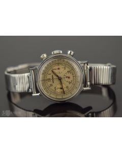 PRIVATE COLLECTION MK Super Rare Movado Ref 98159 Original Dial Chronograph Wristwatch with Francois Borgel Waterproof Steel Case Circa 1940