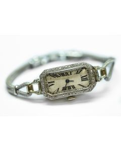 Early Swiss Art Deco Platinum Diamond Wristwatch Circa 1920's