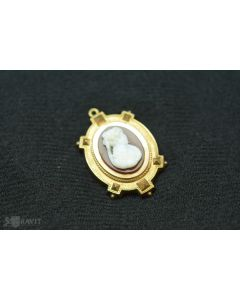 Victorian Carved Hard Stone Cameo Pendant