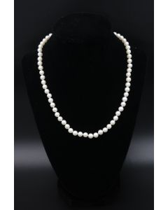 Contemporary Single Strand Pearl Necklace with Yellow Gold Clasp