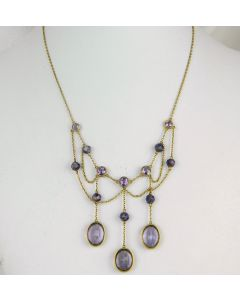 Art Nouveau Yellow Gold and Amethyst Bib Necklace