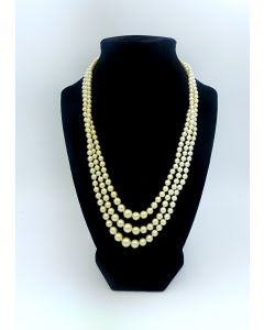 1900's 3 Strand Pearl Necklace with Silver Clasp by Tasaki