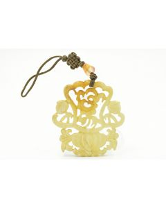 Carved White Jade Lotus Pendant