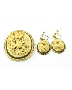 Victorian Yellow Gold and Carved Ivory Brooch and Earring Suite