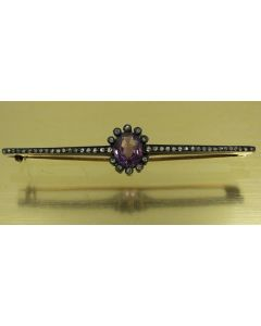 Victorian White Gold Silver Purple Gemstone and Diamond Brooch