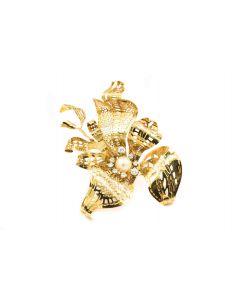 Rare Diamond Pearl Brooch By Joan Michlin Circa 1980's