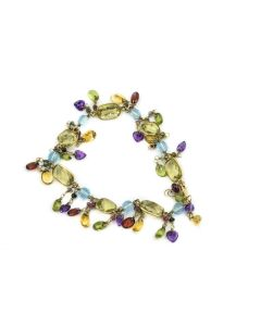 Contemporary Yellow Gold and Multi Color Gemstone Bracelet