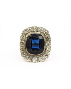 Victorian Platinum Topped Yellow Gold Diamond and Synthetic Sapphire Ring
