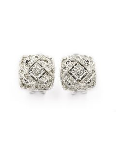 Contemporary White Gold and Diamond Earrings