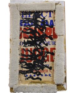 Signed by Purvis Young; Mixed Media; Paint on Wood Board with Carpet; Protesters Genre