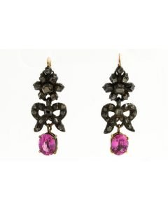 Edwardian Sterling Silver Yellow Gold Pink Sapphire and Diamond Earrings