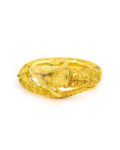 19th Century Castellani Style Italian Archeological Revival Ram's Head Gold Bangle Bracelet