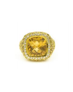 Sonia B. Contemporary Yellow Gold Diamond Yellow Sapphire and Citrine Ring