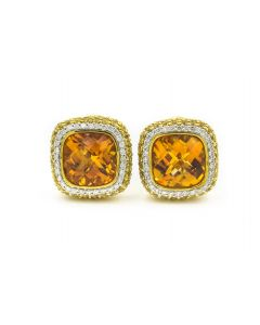 Sonia B. Contemporary Yellow Gold Diamond Yellow Sapphire and Citrine Earrings